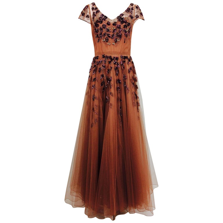 Vintage 1940s Beaded and Sequined Tulle Evening Gown For Sale