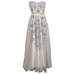 Vintage 1940's Bergdorf Goodman Ivory Sequin Embroidered Tulle Strapless Gown