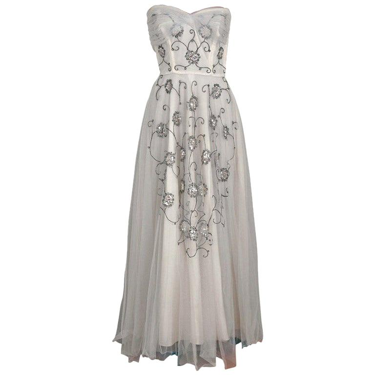 Vintage 1940's Bergdorf Goodman Ivory Sequin Embroidered Tulle Strapless Gown For Sale