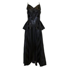 Vintage 1940s Black Evening Gown