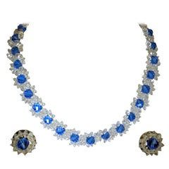 Vintage 1940s Blue & Clear Glass Floral Necklace & Earrings