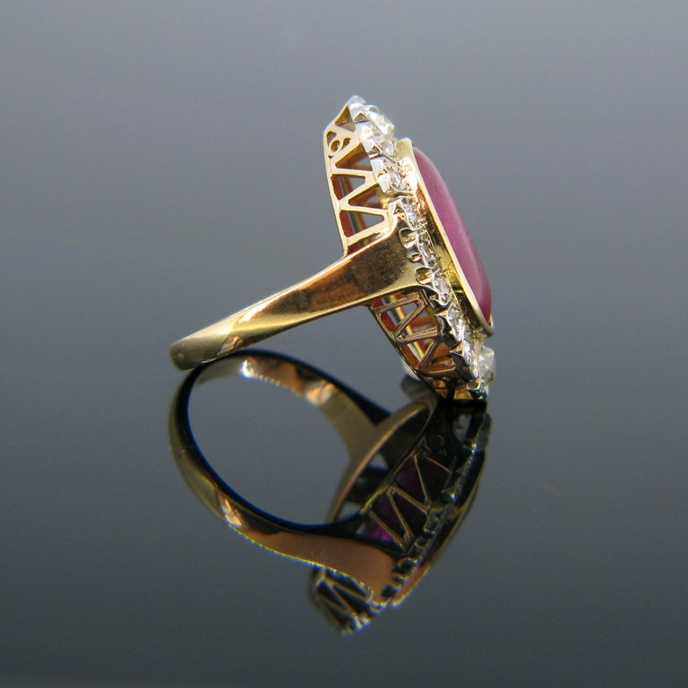 Women's or Men's Vintage 1940s Burmese 10 Carat Ruby Cabochon and Diamonds Cluster Ring For Sale