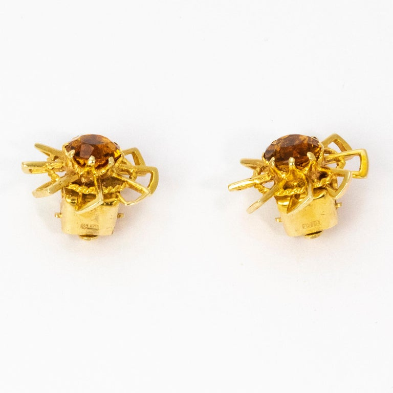 Round Cut Vintage 1940s Crop and Farr Topaz 9 Carat Gold Earrings For Sale