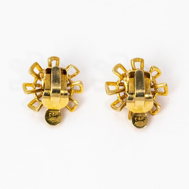 Vintage 1940s Crop and Farr Topaz 9 Carat Gold Earrings In Excellent Condition For Sale In Chipping Campden, GB