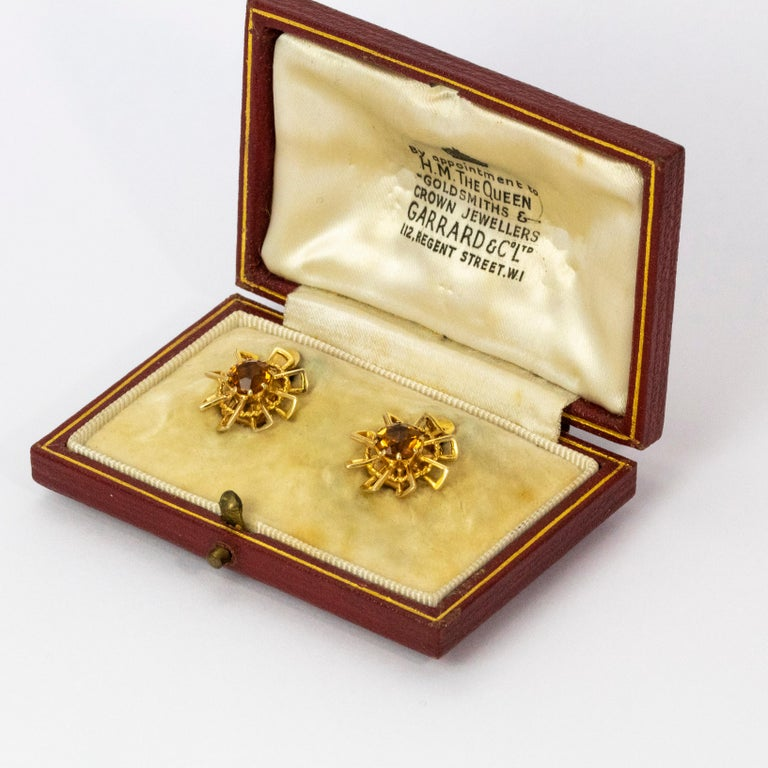 Women's or Men's Vintage 1940s Crop and Farr Topaz 9 Carat Gold Earrings For Sale