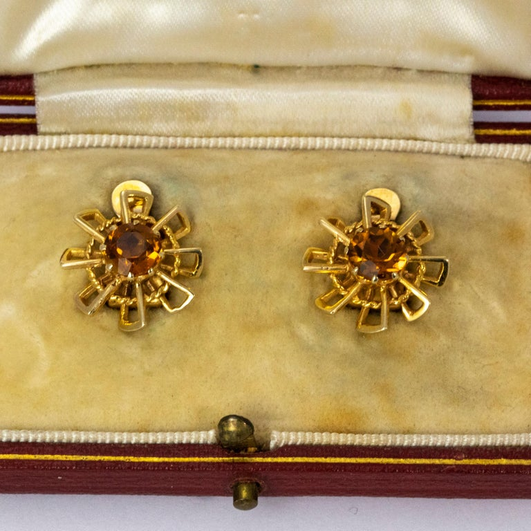 Vintage 1940s Crop and Farr Topaz 9 Carat Gold Earrings For Sale 1