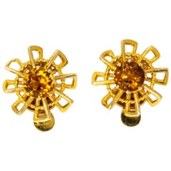 Vintage 1940s Crop and Farr Topaz 9 Carat Gold Earrings