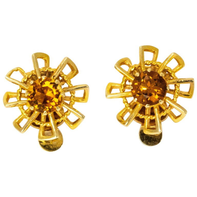 Vintage 1940s Crop and Farr Topaz 9 Carat Gold Earrings For Sale