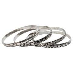 Vintage 1940's Danecraft Felch Sterling Silver Bangle Bracelets, Set of Four