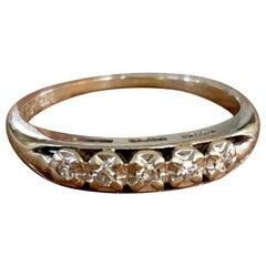 Vintage 1940s Diamond 4-Stone 14 Karat White Gold Band - Size 6 1/4