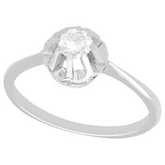 Vintage 1940s Diamond and White Gold Solitaire Ring