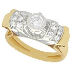 Vintage 1940s Diamond and Yellow Gold Cocktail Ring