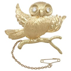 Vintage 1940s Diamond and Yellow Gold 'Owl' Brooch