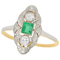 Vintage 1940s Emerald and Diamond Yellow Gold Marquise Ring