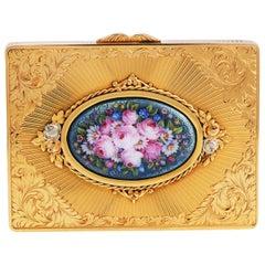Vintage 1940s Floral Limoges Diamond 18 Karat Gold Box