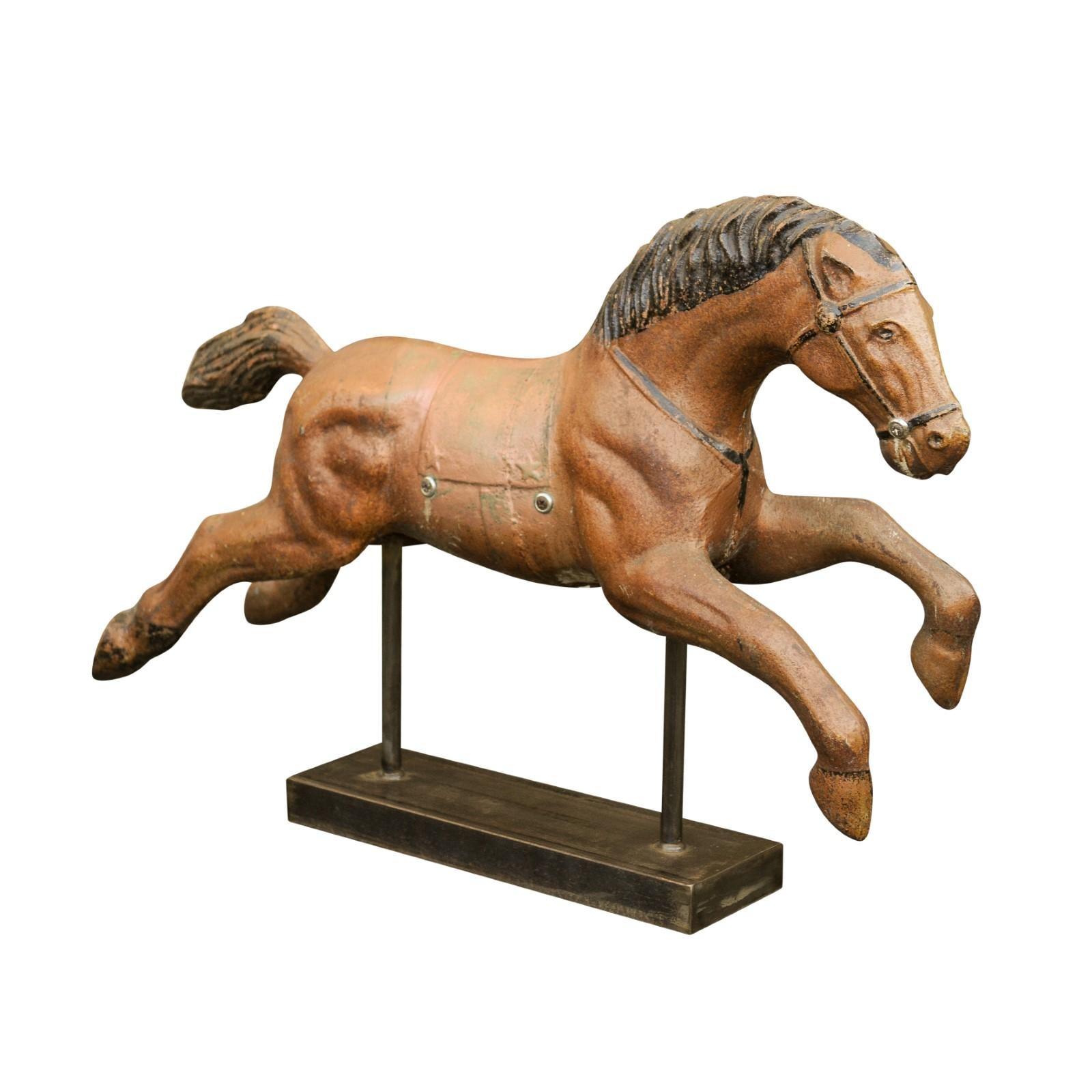 Vintage 1940s Folk Art Painted Iron Child Riding Horse Mounted on Custom Base