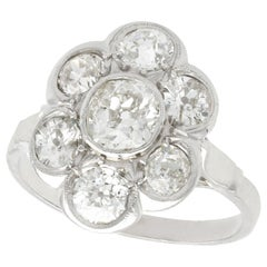 Vintage 1940s French 2.92 Carat Diamond and Platinum Cluster Ring