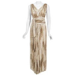 Vintage 1940's French Couture Iridescent Ivory Gold Sequin Silk Draped Gown