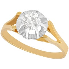 Vintage 1940s French Diamond and Yellow Gold Solitaire Ring