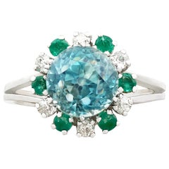 Vintage 1940s French Zircon Diamond Emerald and White Gold Cocktail Ring
