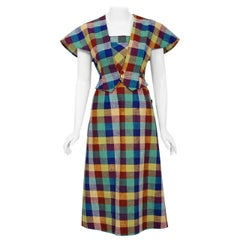 Vintage 1940's Gay Gibson Colorful Plaid Linen Cotton Sun Dress & Winged Bolero
