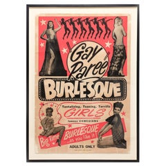"Vintage 1940s ""Gay Paree"" Burlesque Poster"