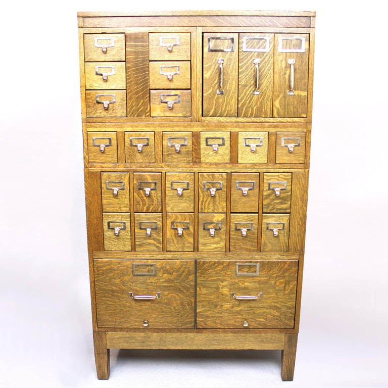 Industrial Vintage 1940s Globe Wernicke Tiger Oak and Brass Post Office File Cabinet