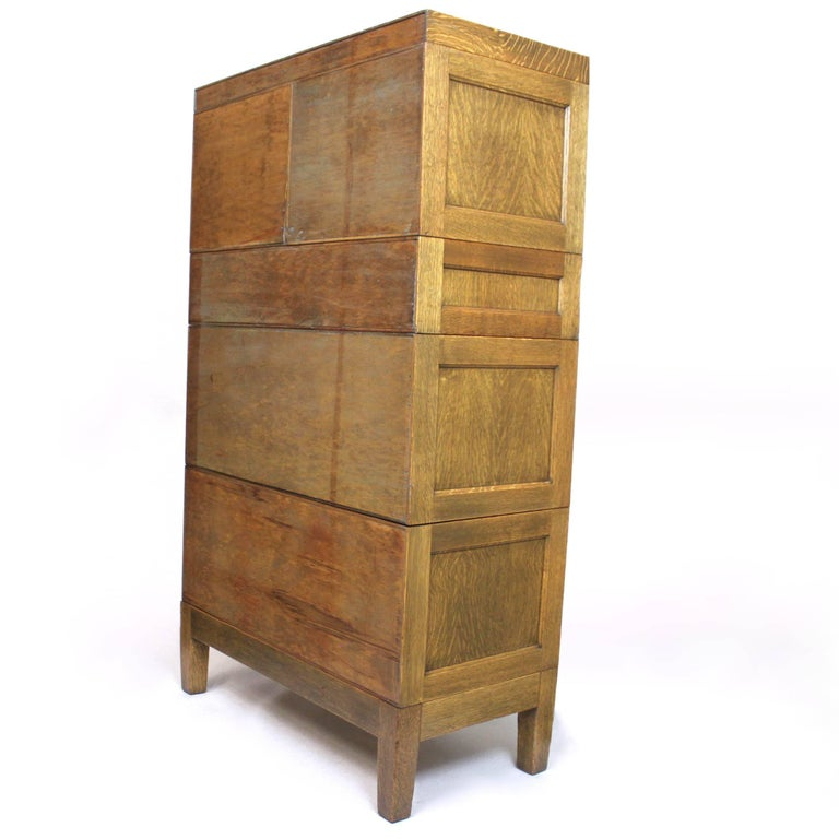 Cast Vintage 1940s Globe Wernicke Tiger Oak and Brass Post Office File Cabinet