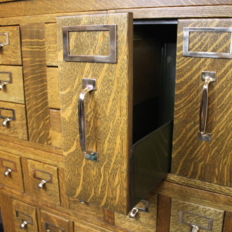 Mid-20th Century Vintage 1940s Globe Wernicke Tiger Oak and Brass Post Office File Cabinet