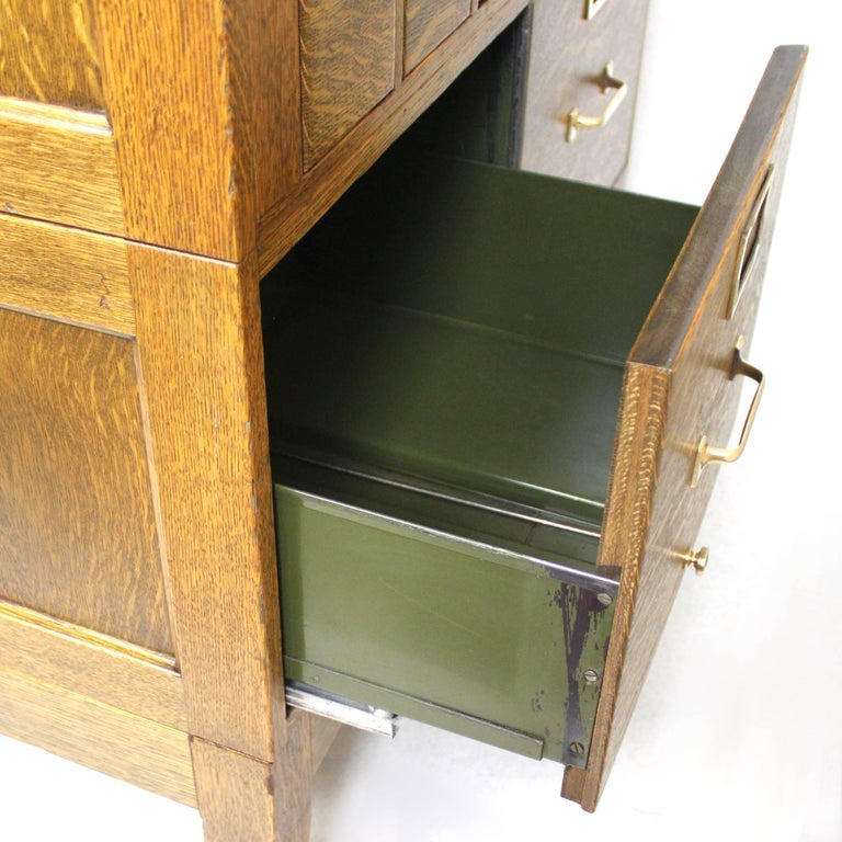 Vintage 1940s Globe Wernicke Tiger Oak and Brass Post Office File Cabinet 1