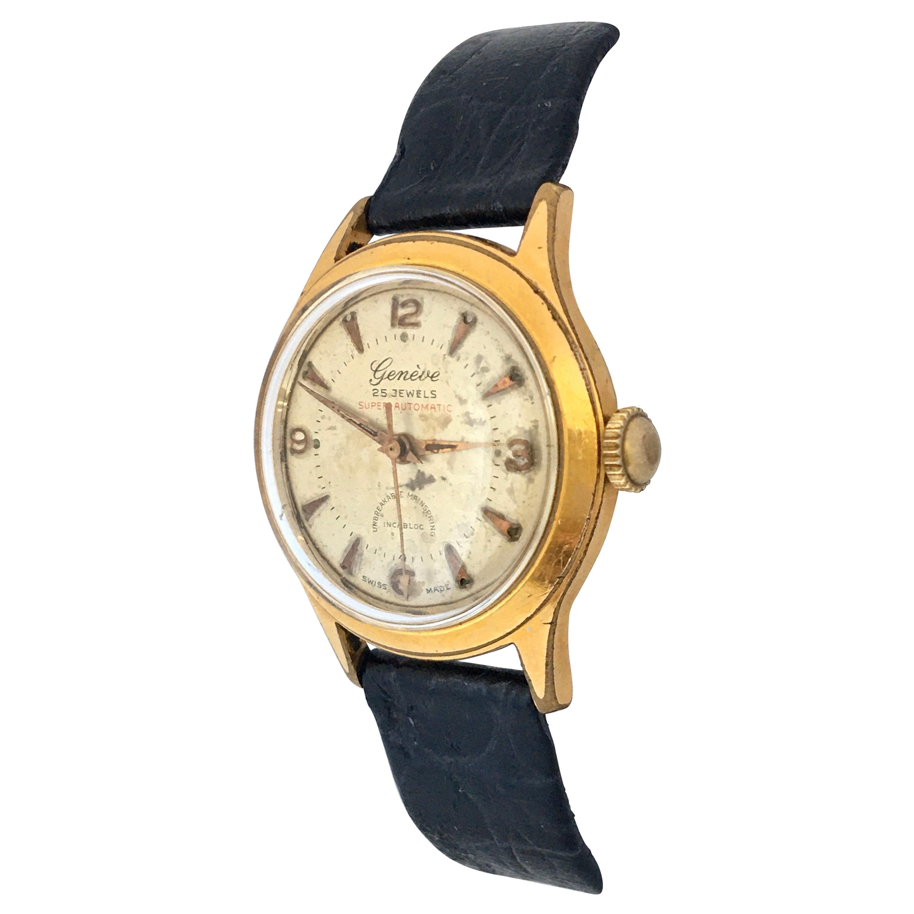 Vintage 1940s Gold Plated and Stainless Steel Back Genève Automatic Watch