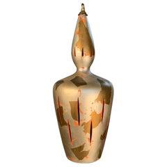 Vintage 1940's Gold & Silver Leaf Ceramic Hanging Lamp