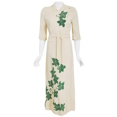 Vintage 1940's Hawaiian Green Leaf Print Ivory Crepe Maxi Belted Wrap Dress Gown