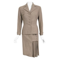 Vintage 1940's Irene Lentz Oatmeal Gabardine Asymmetric Pleated-Skirt Noir Suit
