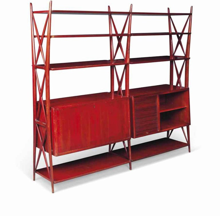 Vintage 1940s Italian Red Lacquered Wall Unit by Silvio Cavatorta For Sale 5