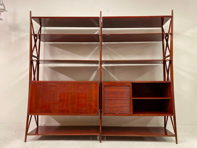 Mid-Century Modern Vintage 1940s Italian Red Lacquered Wall Unit by Silvio Cavatorta For Sale