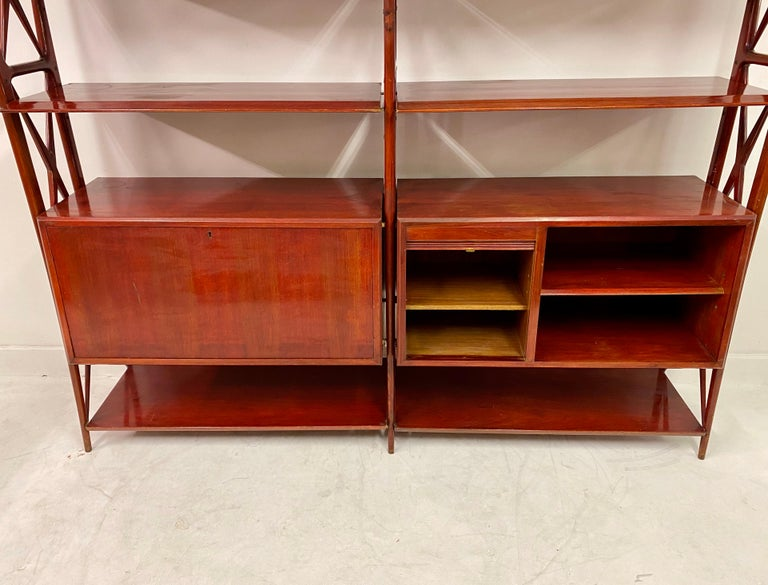 20th Century Vintage 1940s Italian Red Lacquered Wall Unit by Silvio Cavatorta For Sale