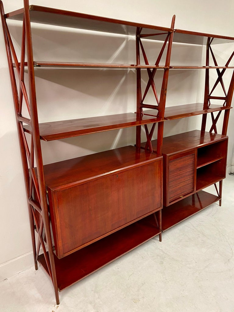 Walnut Vintage 1940s Italian Red Lacquered Wall Unit by Silvio Cavatorta For Sale