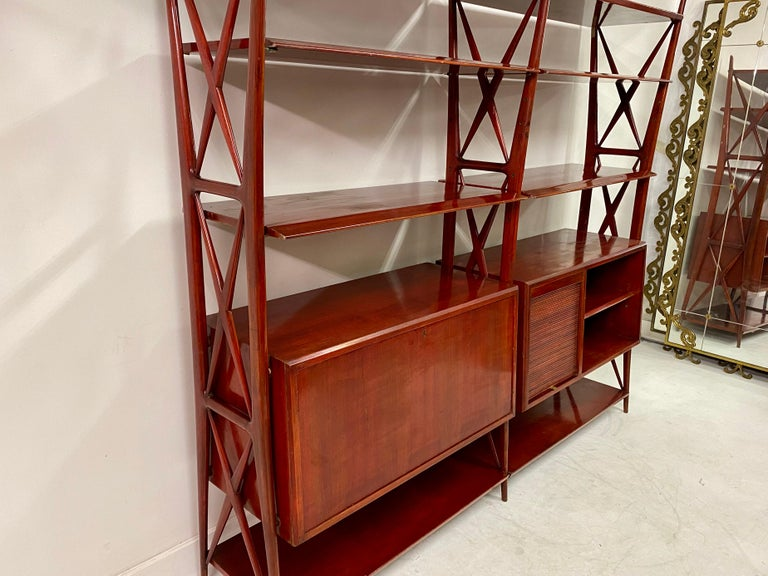 Vintage 1940s Italian Red Lacquered Wall Unit by Silvio Cavatorta For Sale 1