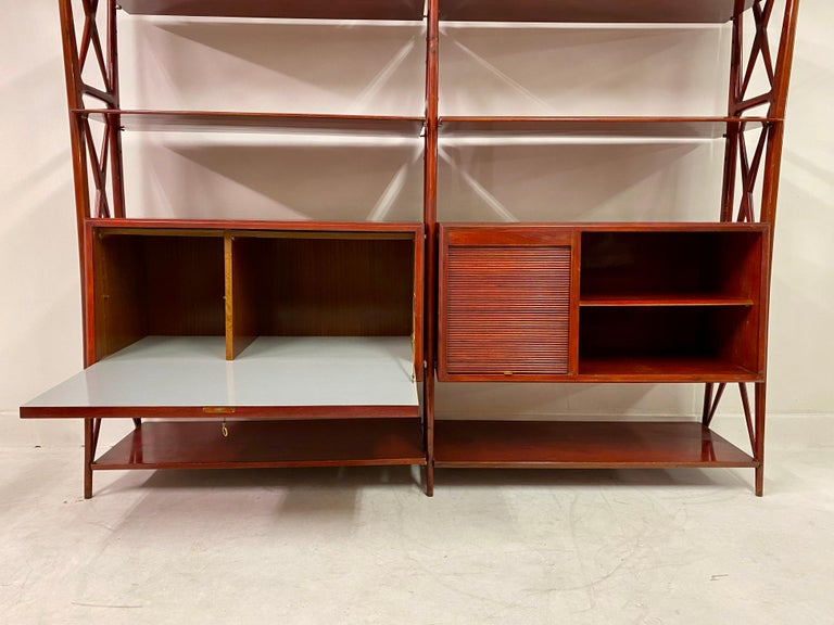 Vintage 1940s Italian Red Lacquered Wall Unit by Silvio Cavatorta For Sale 3