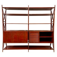 Vintage 1940s Italian Red Lacquered Wall Unit by Silvio Cavatorta