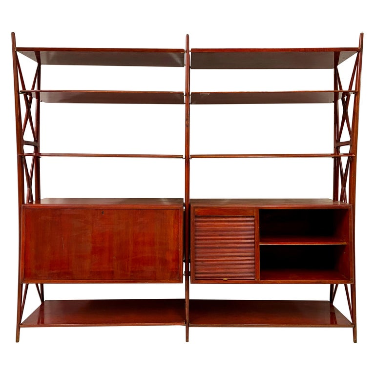 Vintage 1940s Italian Red Lacquered Wall Unit by Silvio Cavatorta For Sale