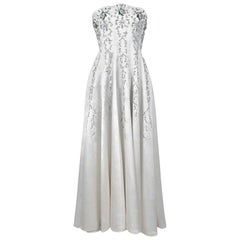 Vintage 1940's Ivory Embroidered Rhinestone Beadwork Satin Strapless Bridal Gown
