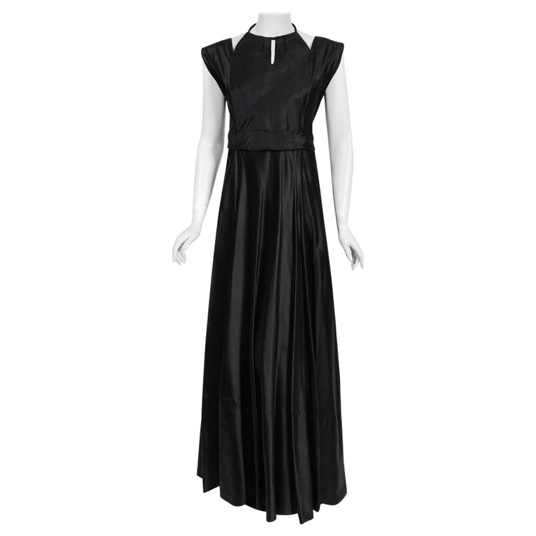 Vintage 1940's Marcelle Dormoy French Couture Black Silk Cut-Outs Low Back Gown For Sale