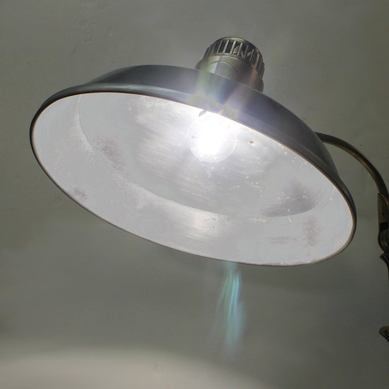 Vintage 1940s Mid-Century Modern Industrial Aluminum GE Sunlamp Floor Lamp 1