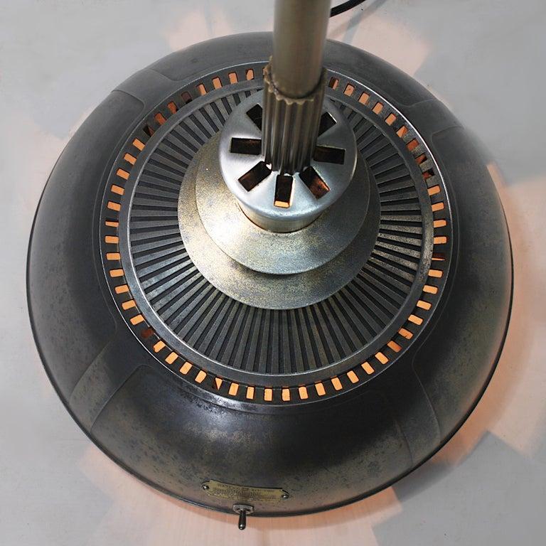 Vintage 1940s Mid-Century Modern Industrial Aluminum GE Sunlamp Floor Lamp 2