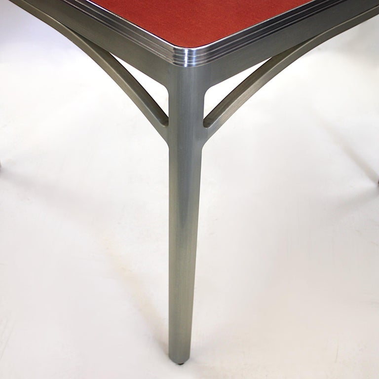Brushed Vintage 1940s Mid-Century Modern Industrial Aluminum Table & Chairs by GoodForm For Sale