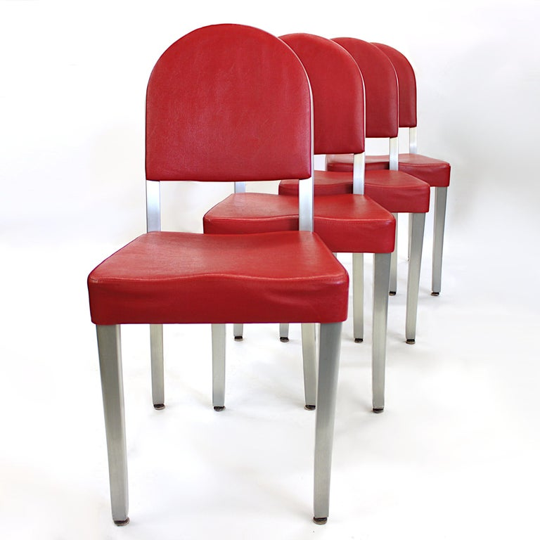 Vintage 1940s Mid-Century Modern Industrial Aluminum Table & Chairs by GoodForm For Sale 1