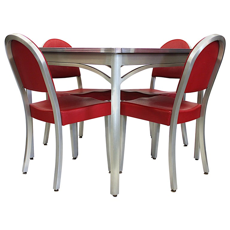 Vintage 1940s Mid-Century Modern Industrial Aluminum Table & Chairs by GoodForm For Sale