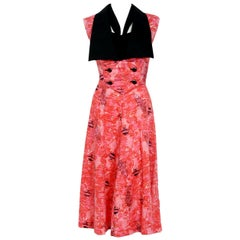 Vintage 1940's Novelty Fish Print Black and Pink Cotton Halter Dress with Bolero